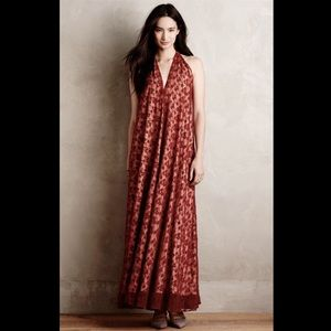 Korovilas red nude lined Lace Backless Gown M